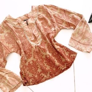 PLENTY Silk Blouse Bohemian Top